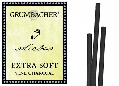 Medium V42 3 Pack Grumbacher Vine Charcoal Black